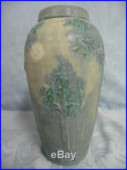 LOVELY PRE-OWNED SCENIC EPHRAIM FAIENCE POTTERY VASE withTREES, MOUNTAINS & MOON