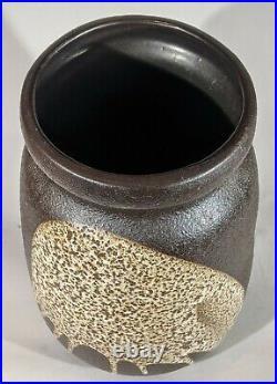 Lapid Art Pottery Israel MCM Splat Lava Glaze 10.75 Vase RARE Large Signed