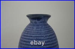 Large Cobalt Blue Ribbed McCarty Pottery Merigold Mississippi Art Pottery Vase