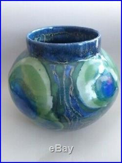 Large Dartington Studio Pottery Peacock Vase Janice Tchalenko
