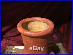 Large Handmade Terra Cotta Pottery Vase withHandles 14 1/8x7 1/2
