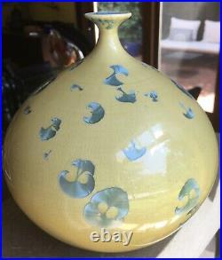 Large Hideaki Miyamura Art Potter Crystaline Vase