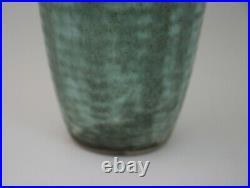 Large Jade Ribbed McCarty Pottery Merigold Mississippi Art Pottery Vase VTG