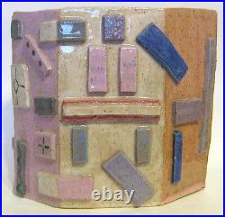 Large Studio Art Abstract Vase Hand Built Ceramic Geometric Shapes 13 to 14 Inch