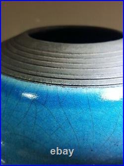 Large Turquoise Raku Crackle Glaze Vase By Rosalie Dodds