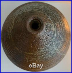 Large Vintage 60s Studio Pottery Stoneware Ceramic Vase Mid Century Signed Deyoe
