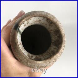 Large Vintage Jade & Pink Ribbed McCarty Mississippi Art Pottery Ceramic Vase