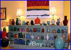 Large Vintage Studio Art Pottery Atomic Age Brutalist Vase Signed 1960's