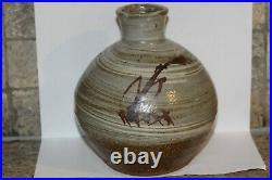 Leach pottery Shigeyoshi Ichino iron oxide on hakame studio large onion vase