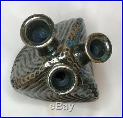 Lilia Venier Studio Pottery Abstract 3-Hole Bud Vase Handcrafted Ceramic Art