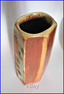 Lisa Hammond, a stoneware faceted vase with soda glaze