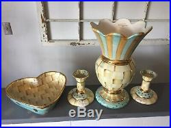 Lot Of Mackenzie Childs Parchment Check Pottery Vase 2 Candlesticks & Heart Bowl