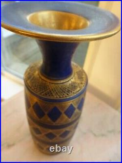 MARY RICH STUDIO POTTERY VASE cobalt blue gold lustre ±23cm 9 inches high signed