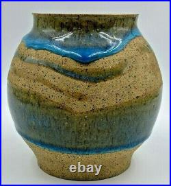 MCM Charles Counts Rising Fawn Pottery Amazing Blue Drip Vase Georgia Art Lovely