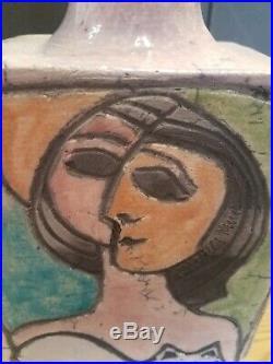 MCM Vintage Linda Mielke Cubist 1960's Raku Signed Face Vase Bottle Art Pottery