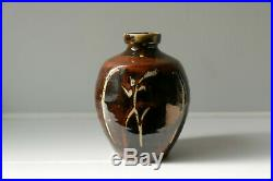 MIKE DODD studio pottery STONEWARE BOTTLE VASE wax resist TENMOKU & ASH GLAZE
