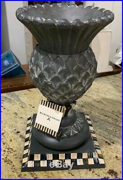 MacKenzie Childs Courtly Check Garden Thistle Vase 12.5 cast aluminum vase NWT