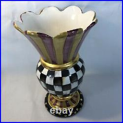 Mackenzie Childs Frank & Mustard/Courtly Check Large Vase 12 Tall
