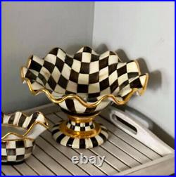 Mackenzie childs Large Courtly Check Compote