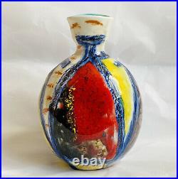Marcello Fantoni Mid Century Multicolor 4 3/4 Studio Vessel Signed Vase Italy