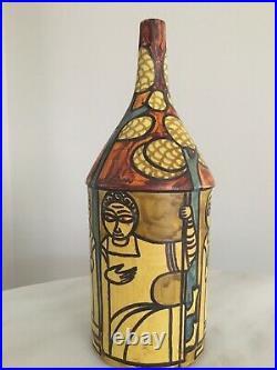 Marcello Fantoni Mid-Century Studio Ceramic Bottle Vase, Signed
