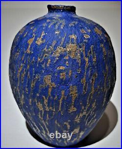 Marlis Schratter Signed Vintage Studio Art Pottery Blue Bud Vase Weed Pot