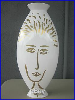 Memphis Sottsass Design MATTEO THUN Art Pottery Face Vase Guerriero Italy LE
