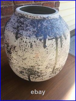 Michael Gubkin Stoneware Studio Pottery Large Abstract MCM Planter Vase