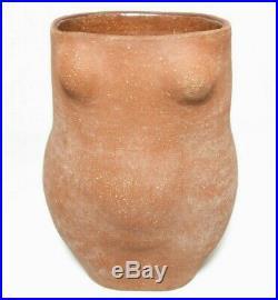Mid-20th C Vint Eaves Sgnd Nude Female Torso Figurative Terracotta Ceramic Vase