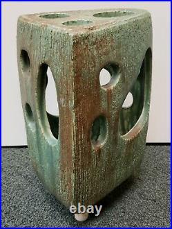 Mid 20th Century Japanese Studio Pottery Modernist Footed Ikebana Vase