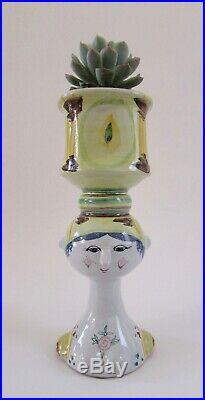 Mid Century BjornWiinblad Studio Pottery Danmark Face Vase 1969 8 1/4Tall Mint