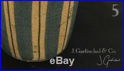 Mid Century Japanese redware studio pottery 11.75 tall vase blue stripes