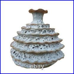 Mid Century Modern Brutalist Volcano Texture Pottery Weed Vase