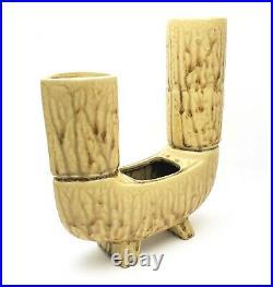 Mid Century Modern Ikebana Japanese Studio Pottery Double Vase w Planter Label