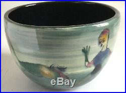 Mid Century Modern POLIA PILLIN Vase Bowl with Dancing Woman & Horse Signed