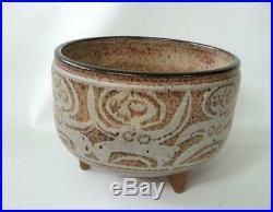 Mid Century Modern Raymond Gallucci Studio Pottery Bowl Vase Footed Nudes