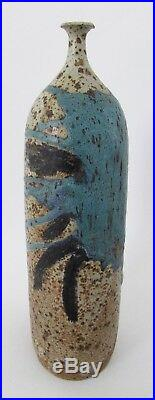 Mid Century Signed Studio Art Pottery Large Lava Stoneware Weed Vase 16