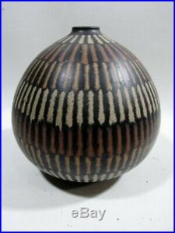 Midcentury Clyde Burt Ceramic Bulbous Vase Ohio Modernism Pottery