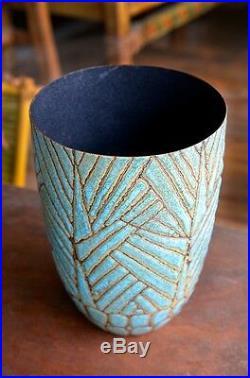 Modernist, Enameled Copper Vase by Sascha Brastoff