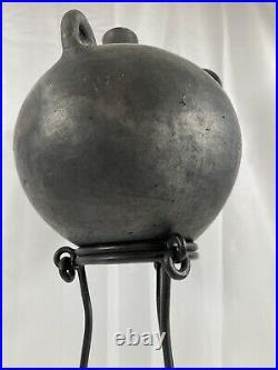 Modernist Raku Spherical Pottery Vessel Exaggerated Iron Stand 9Hx 7.5x22