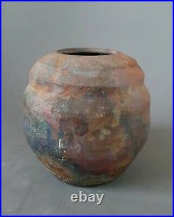 Modernist Raku style pottery stoneware vase 6 inches