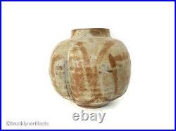Modernist Studio Art Pottery Squat Scalloped Brown Vase by Makoto Yabe