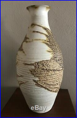Monumental 15 Edna Arnow Chicago Artist Studio Pottery Lava Glaze Vase
