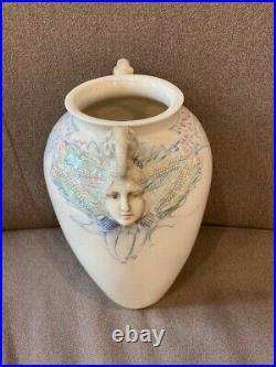 Monumental Vintage David Keyes Takoma Art Pottery TAP Vase Elephants Female Face