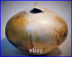 Monumental Weed Pot Vase Vintage Wood Fired Studio Art Pottery Signed McDonald
