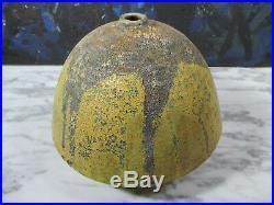 Natzler Era American Studio Art Pottery MCM Lava Glaze Hand Thrown Vase Signed