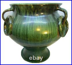 North Carolina Pottery J B Cole 3 Ring Handle Floor Vase In Green Malachite