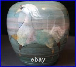 Original Polia Pillin Vase Pot, Three Pastel Horses, Signed, 61/2 Tall, 6 Wide