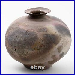 Oscar Bucher Mid Century Ceramic Studio Art Pottery Raku Vase 5.75T x 6.5W