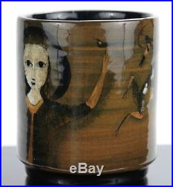 POLIA PILLIN brown vase with woman holding two birds, and deer and tree